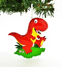 Grantwood Technology Personalized Christmas Ornament RED T-REX Tyrannosaurus REX Dinosaur/Personalized by Santa/Dinosaur Ornament/T-REX Ornament