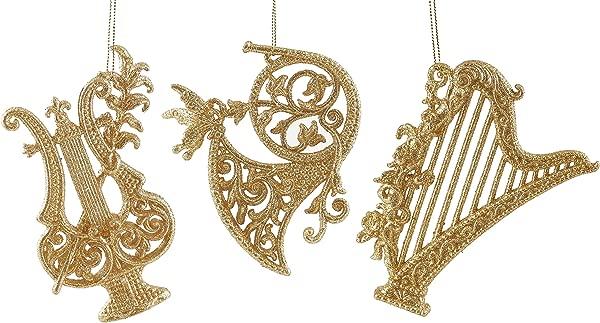 Elegant Musical Instruments Hanging Christmas Ornament Set