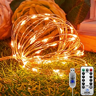 KNONEW Halloween Fairy String Lights 72ft 220 LED 8 Modes with Remote, USB Powered Copper Wire String Light for Christmas Tree Halloween Thanksgiving Wedding Party Home Bedroom Decoration (Orange)