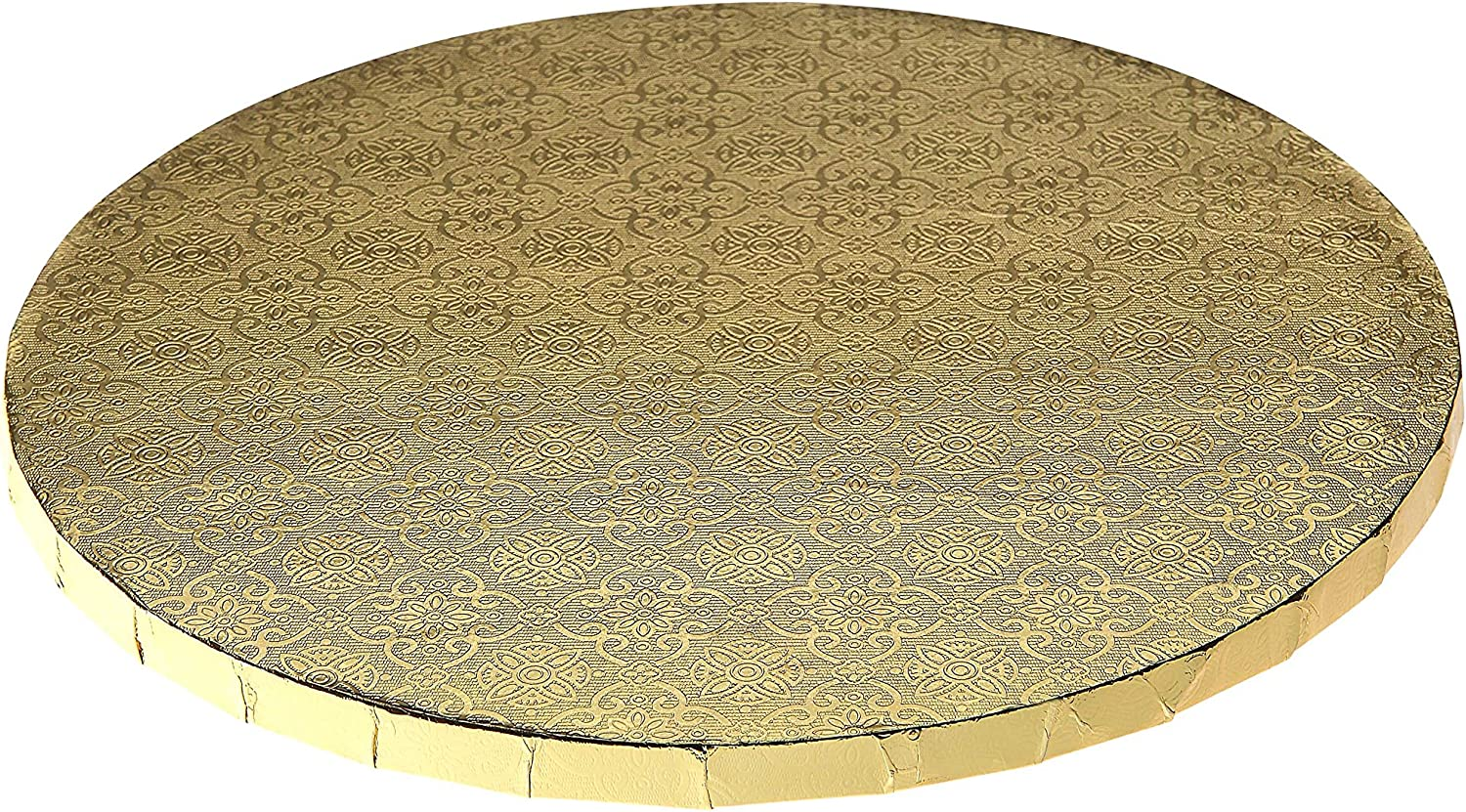 W PACKAGING WPDRM12G 12  (12x12x0.31) gold Round Cake Drum, 1 2  Thick, B C-Flute, Corrugated with Coated Embossed Foil Paper, Covers Top and Sides (Pack of 12)