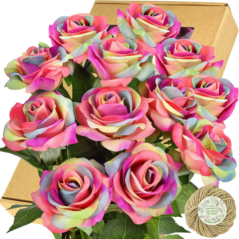 FiveSeasonStuff Fake Roses Wedding Max 89% OFF Special sale item Flowers Touch Silk Real Rainb