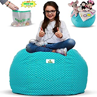 Kroco Stuffed Animal Storage Bean Bag Chair for Kids Room | Stuffie Toy Storage Beanbag Covers for Girls & Boys | Stuff Toys Organizer Seat Holder | Original Bag Extra Large - 38'' Teal