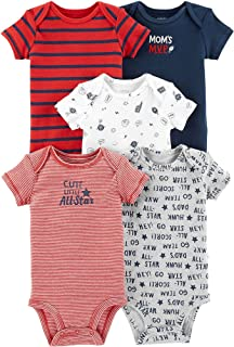 Carter's Baby Boys 5-Pack Original Short Sleeve Bodysuits (Blue/Red)