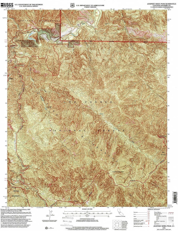Junipero Serra Peak CA topo map, 1 24000 Scale, 7.5 X 7.5 Minute, Historical, 1995, Updated 2000, 26.7 x 21.9 in