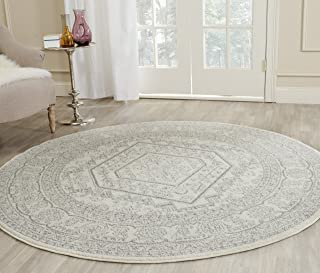 Safavieh Adirondack Collection ADR108B Ivory and Silver Oriental Vintage Medallion Round Area Rug (10' Diameter)