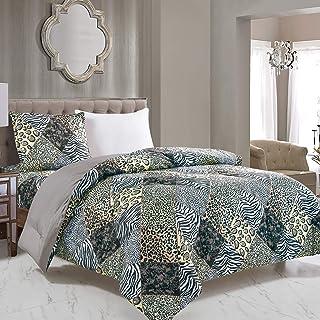 WPM 2 Piece Animal Print Comforter with Pillow Sham, Black White Gray Leopard Zebra Giraffe Jungle Forest Theme Design Twi...