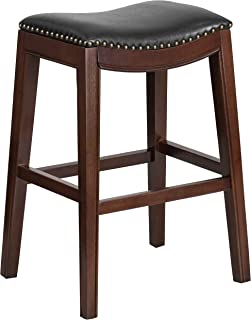 Flash Furniture 30'' High Backless Cappuccino Wood Barstool with Black Leather Saddle Seat
