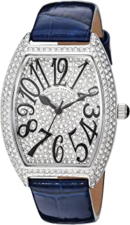 Women's Elegant Quartz Watch with Leather Strap, Blue, 15 (Model: CV4821)