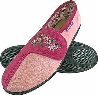 DUNLOP - Ladies Adjustable Wide Fit Memory Foam Floral Indoor Velcro Slippers for Swollen Feet