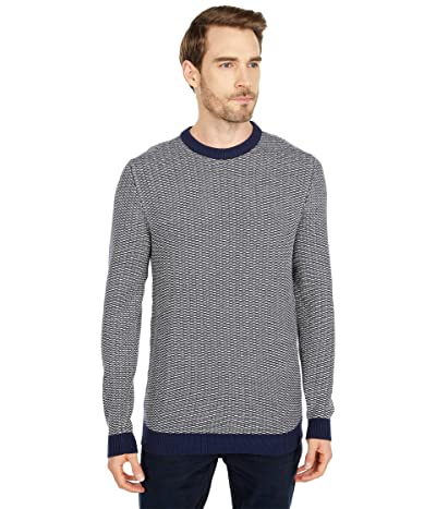 Selected Homme Aiden Crew Neck Sweater (Bone White Maritime Blue) Men