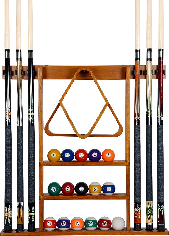 billiard pool snooker table wall mount hanging 6 cue sticks wood rack holder wq