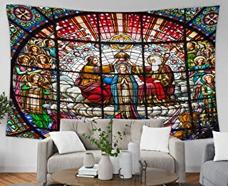 Asdecmoly World Tapestry Wall Hanging, Huge Tapestry for Living Room and Bedroom 80 Lx60 W Inches Catalonia Spainoctober Stained Glass Jesus Crowning Mary God The Fathe Art Printing Inhouse,Red Peach
