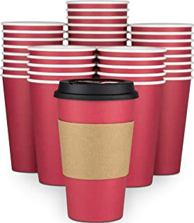 Glowcoast Disposable Coffee Cups With Lids - 16 oz To Go Coffee Cup (90 Pack). Large Travel Cups Hold Shape With Hot and Cold Drinks, No Leaks! Paper Cups with Insulated Sleeves Protect Fingers!