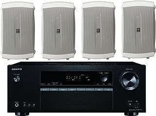 Onkyo 5.2 Channel Full 4K Bluetooth AV Home Theater Receiver + Yamaha High-Performance Natural Surround Sound 2-Way Indoor/Outdoor Weatherproof Speaker System (Set Of 4)