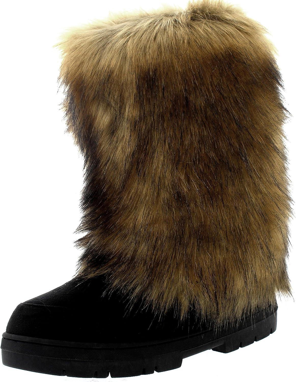 Womens Tall Rabbit Fur Covered Snow Rain Waterproof Yeti Eskimo Winter Boots