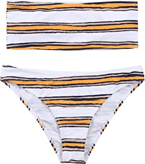 Lemonfish Women's Strapless Bra Horizontal Stripe Bandeau Bikini Bottom Set Swimsuit