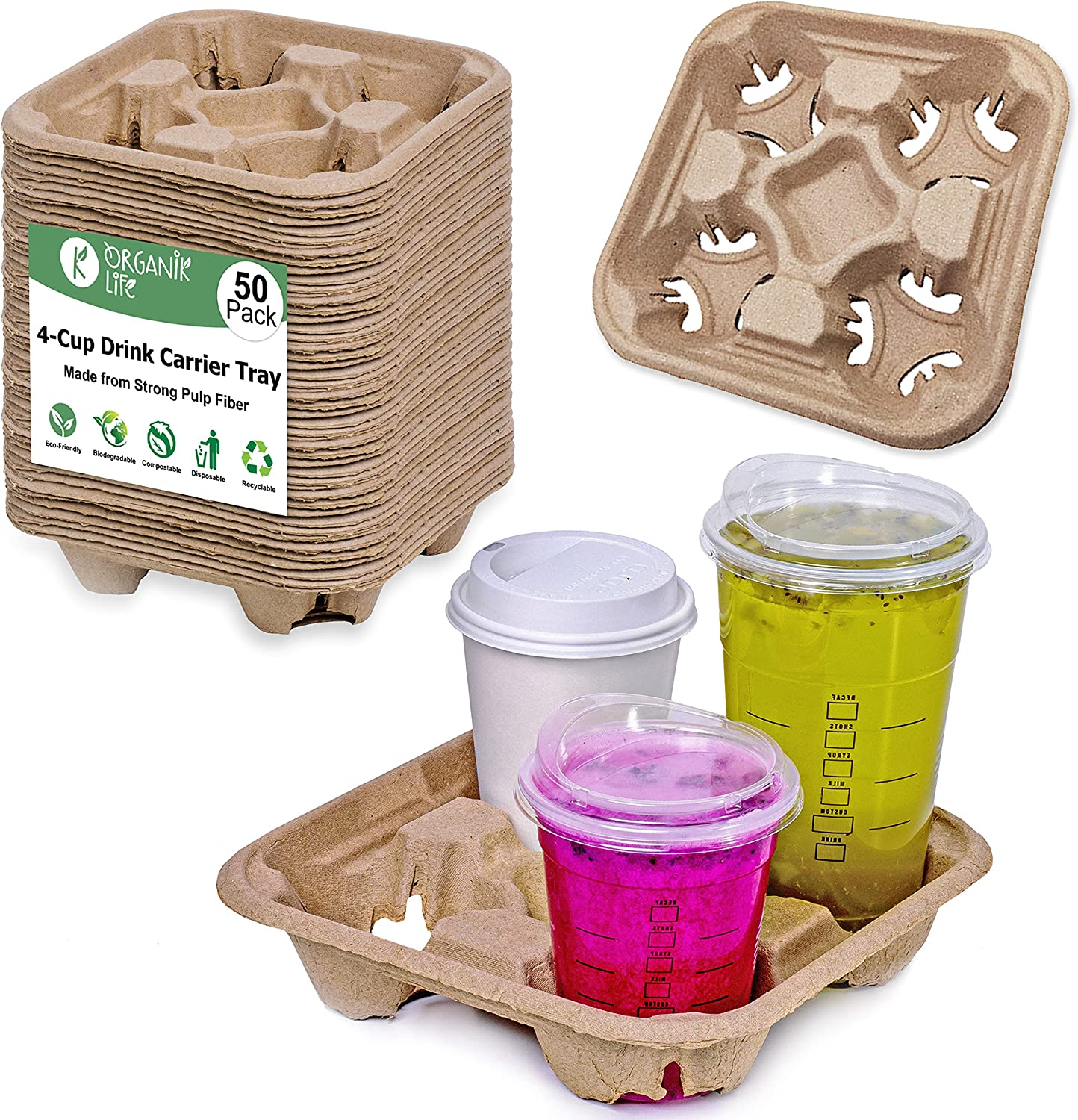 4 Cup Carrier Tray (50-Pack), No-Spill, No-Mess Disposable Cup Holder Tray, Biodegradable, Eco-Friendly Drink Carrier for Delivery of Hot or Cold Drinks, Ideal To Go Drink Holder for Car Food Delivery