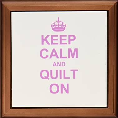 3dRose ft_157760_1 Keep Calm and Quilt on Carry on Quilting Quilter Gifts Pink Fun Funny Humor Humorous Framed Tile, 8 by 8-I