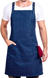 Fine Stripes Denim Apron - Barista, Kitchen, Cooking, Grill, Shop, Bartender, Artist, Stylist, Craft, BBQ, Chef Apron with Adjustable Cross Back Straps, 3 Pockets, Men and Women, One Size Fits All
