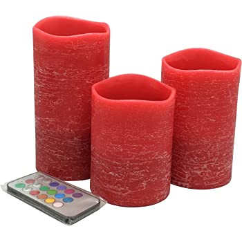 Adoria Red LED Candle-Red Pillar Candles Remote Battery Lantern Set of 3, Auto 24-Hour Cycle Timer, Tall 4/5/ 6inch