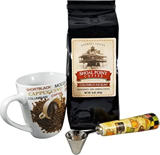 Shoal Point Colombian Excelso Ground Coffee Gift Set With Coffee Mug and Coffee Scoop