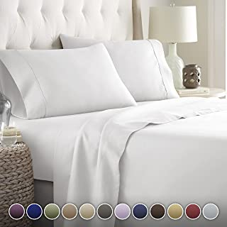 HC Collection Bed Sheets Set, HOTEL LUXURY 1800 Series Platinum Collection Bedding Set, Deep Pockets, Wrinkle & Fade Resistant, Hypoallergenic Sheet & Pillow Case Set (Queen, White)