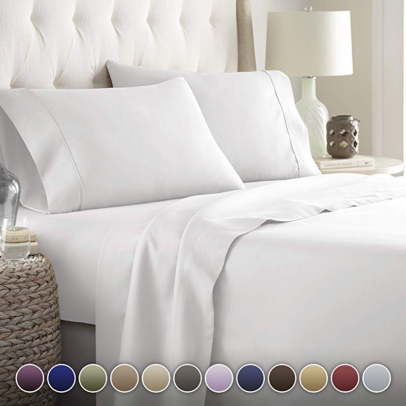 HC Collection Bed Sheets Set HOTEL LUXURY 1800 Series Platinum Collection Bedding Set Deep Pockets Wrinkle Fade Resistant Hypoallergenic Sheet Pillow Case Set Queen White