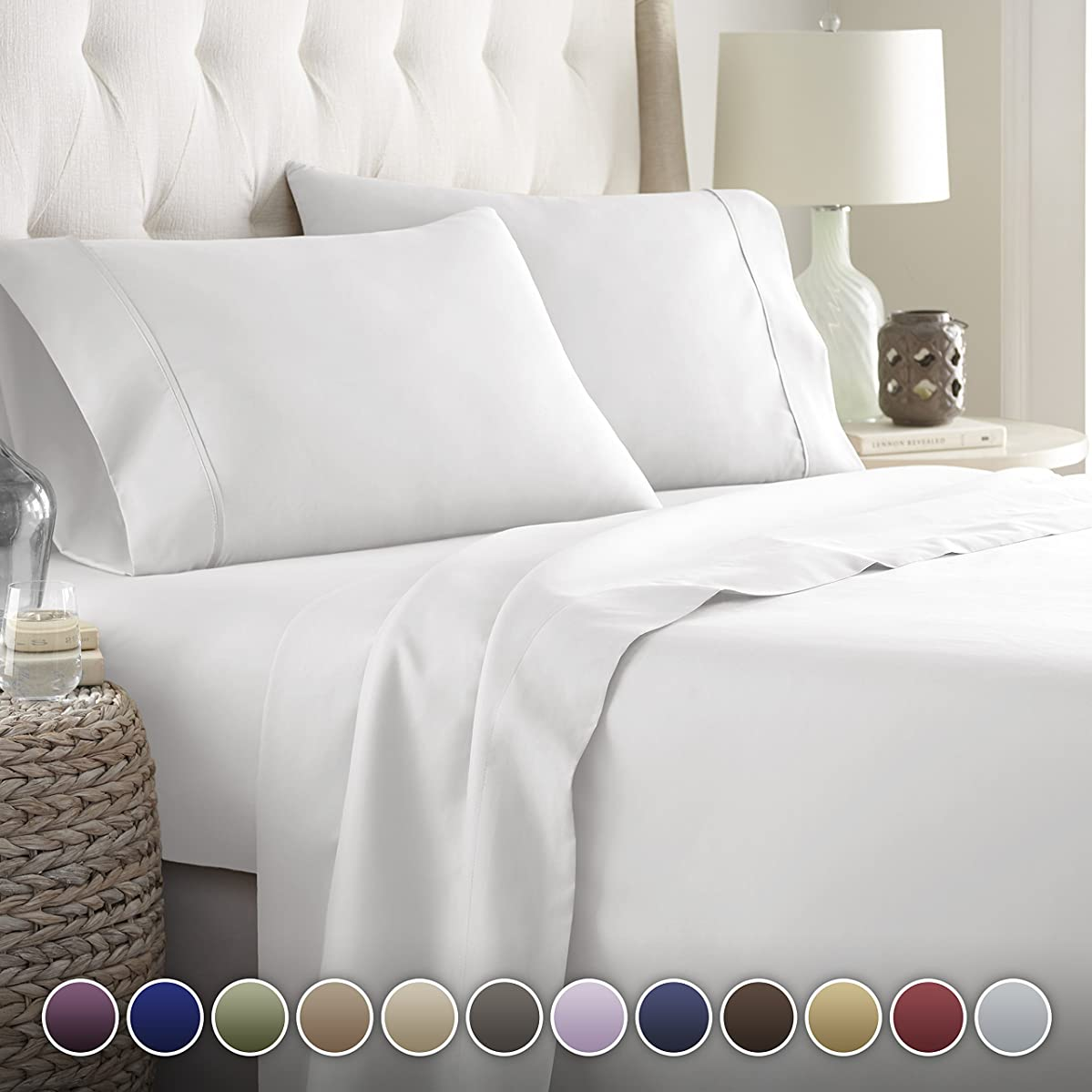 Hotel Luxury Bed Sheets Set-Top Quality Softest Bedding 1800 Series Platinum Collection-Deep Pocket,Wrinkle & Fade Resistant (Twin, White)