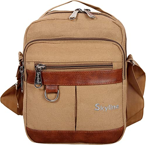 Stylish Canvas Sling Bag Cross Body Bag Beige 1502