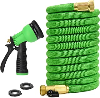 "Glayko Tm 75 Feet Expandable Garden Hose -New 2019- Super Strong Construction - 3/4"" Solid Brass Fittings - and Shut-Off Valve + 8 Function Spray Nozzle - Flexible Expanding Hose with Storage Bag"