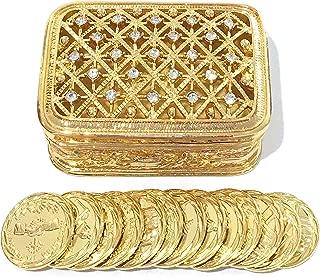 Rectangular Rhinestone Gold Wedding Arras Box & Unity Coins Arras de boda