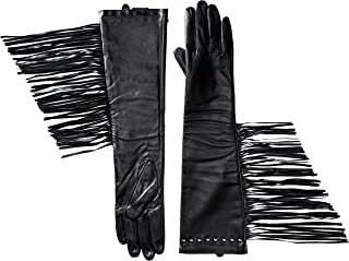 La Fiorentina Women's Leather Long Fringed Glove with Detail