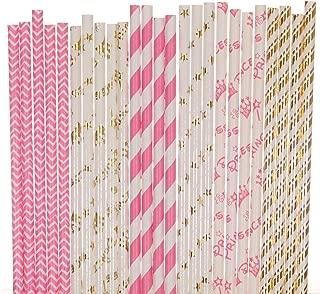 Princess Paper Straw Mix - Gold Foil, Hot Pink, White - Striped, Chevron, Star, Crown (25)