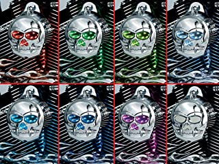 Kuryakyn 7719 Motorcycle Lighting Accessory: Zombie Infinity Horn Cover with Multi-Color LED Skull Eyes and Nose for 1992-2019 Harley-Davidson Motorcycles, Chrome