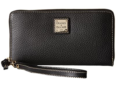 Dooney & Bourke Pebble Leather Large Zip Around Wristlet (Black/Black) Wristlet Handbags