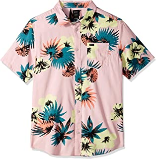 RVCA Men's Romeo Floral Short Sleeve Woven Button Front Shirt