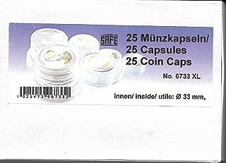 25 x SAFE CAPS 33 mm / - Ideal para medallas - monedas - sistema de monedas - 20 suizos Franekn - 20 Mark DDR - 3 Mark alemán Imperio - Krugerrand 1 onza de oro - 50 $American Eagle oro Dólares - 10 euros/DM - moneda de - fundas