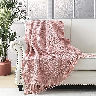 Dikke Chunky Blush Roze Gebreide Gooi Deken voor Bank Stoel Sofa Bed, Chic Boho Stijl Geweven Mand Weave Patroon Deken met...