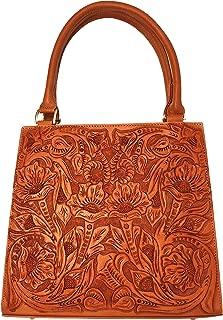 Helena Vintage Floral Artisan Leather Handmade Shoulder Handbag Designer Gift for Women