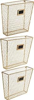 MyGift Wall-Mounted Gold-Tone Metal Chicken Wire Magazine & File Folder Baskets, Set of 3