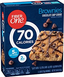 Fiber One 70 Calorie Brownie Chocolate Chip Cookie, 6 Count, 5.34 oz (Pack of 8)