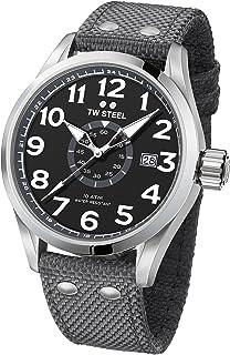 TW Steel Men's Volante Stainless Steel Japanese-Quartz Watch with Nylon Strap, Grey, 24 (Model: VS12)