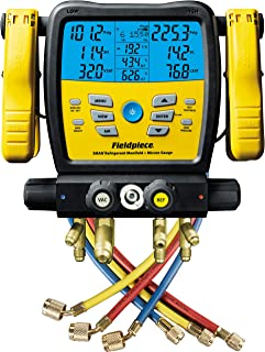 Fieldpiece SM480V - Four Port, Wireless SMAN Manifold with Micron Gauge and Yellow Jacket 22985 Hoses