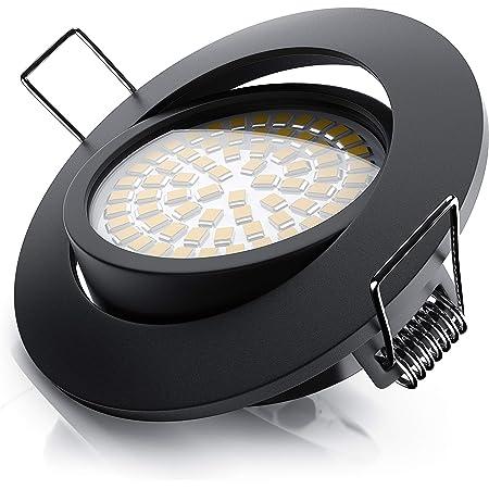Brandson - Spot intérieur LED plafon, dimmable, encastrable, orientable - 5W - 230V - 320 lumens, ultra plat - Structure en aluminium (aspect en inox) - Angle de faisceau 120°- Classe énergétique A+