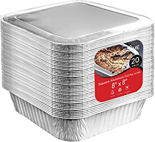 8x8 Foil Pans with Lids (20 Count) 8 Inch Square Aluminum Pans with Covers - Foil Pans and Foil Lids - Disposable Food Con...