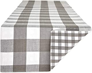 DII Tablerunner Gingham Check, 14x72, Gray
