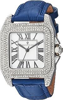 Christian Van Sant Women's Radieuse Quartz Watch with Leather Strap, Blue, 19 (Model: CV4422)