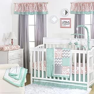 Medallion Medley Coral & Mint Baby Crib Bedding - 11 Piece Sleep Essentials Set