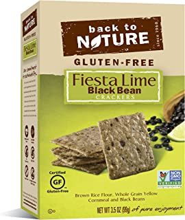 Back to Nature Gluten Free Crackers, Non-GMO Black Bean & Fiesta Lime Rice Thins, 3.5 Ounce