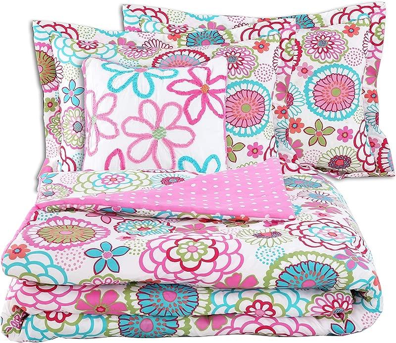 Cozy Line Pink Floral 4 Pcs Comforter Sets Reversible Polka Dot Little Girl Bed Pink Floral Full Queen 4 PC Comforter Set